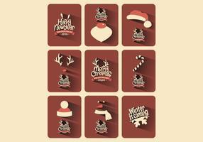 Vector de coleção de cartão de Natal rústico