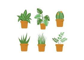 conjunto de vaso de planta verde vetor