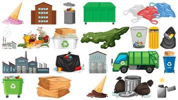 coleção de objetos com o tema poluição vetor