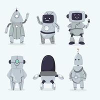 coleção de robôs desenhados à mão vetor