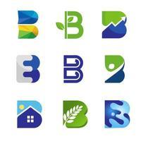 conjunto de símbolos da letra b inicial criativo vetor