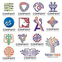 conjunto de logotipo de circuitos eletrônicos digitais criativos vetor