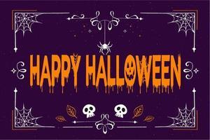 quadro assustador de halloween violeta vetor