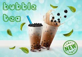propaganda de chá de bolhas em bokeh azul vetor