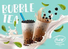 anúncio de chegada de bolha de chá com respingos de leite e folhas vetor