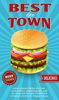 melhor anúncio de cheeseburger da cidade vetor