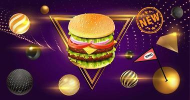 cheeseburger com elementos de esfera dourada e moldura triangular vetor