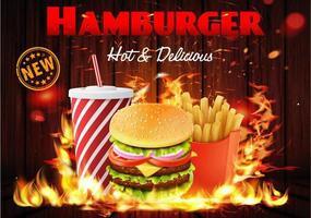 Conjunto de hambúrguer flamejante em pôster de madeira vetor