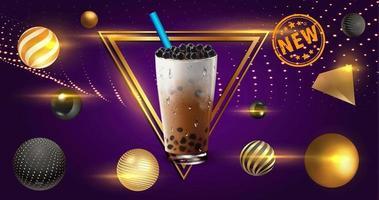 Bubble tea com elementos de esfera dourada e moldura triangular vetor