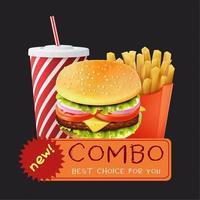 modelo de combinação de menu de fast food vetor