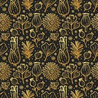 ervas douradas, plantas florestais em padrão preto sem costura