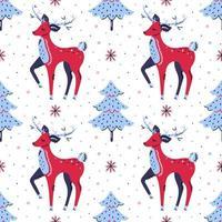 veados, árvores de natal e flocos de neve desenhados à mão padrão sem emenda vetor