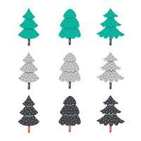 mão desenhada planas árvores de Natal. vetor