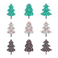 desenhadas à mão árvores planas de natal com enfeites