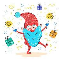 Elfo Papai Noel desenhado à mão com brilhantes e presentes vetor