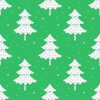 mão desenhada árvore de natal verde e branca sem costura padrão
