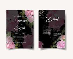 cartão de convite de casamento escuro com rosas