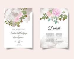 cartão de convite de casamento em aquarela com flores