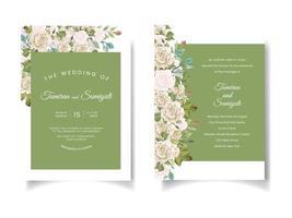 convite de casamento verde com bordas florais vetor