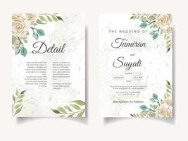 Conjunto de convite de casamento em aquarela linda rosa e folhas vetor