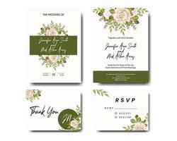 Conjunto de convite de casamento de rosas e folhas verdes vetor