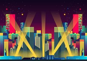 Hollywood lights night city vetor