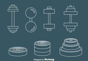 Dumbell line icons vector