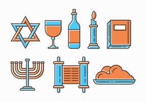 Ícones judaicos do Shabat grátis vetor