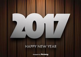 Fundo de madeira do vetor com mensagem de ano novo de 2017