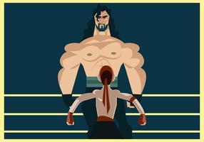 Lutador gigante contra o vetor do lutador minúsculo