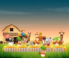 Cena de fazenda com estilo de desenho animado de animais vetor