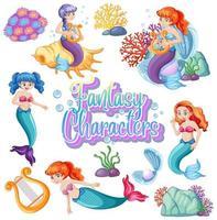 texto de personagens de fantasia com sereias em branco vetor