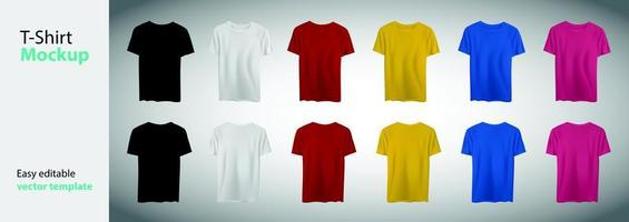 coleção de modelos de camisetas grandes de cores diferentes vetor