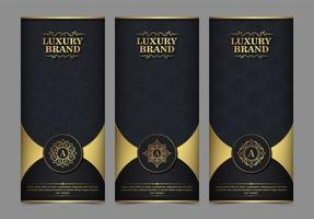 cartão de visita de luxo e conjunto de modelos de ornamento vintage vetor