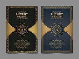 conjunto de cartão comemorativo de ornamento de luxo vetor