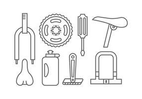 Ícones de elemento de bicicleta vetor