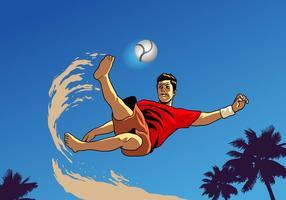 Jogador de futebol de praia vetor