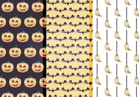 Padrões de vetores de aquarela de Halloween