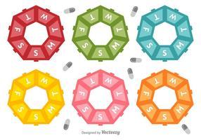 Ícones de vetor de caixa de comprimidos