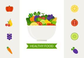 Tigela com vetor de alimentos saudáveis