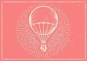Fundo de vetor de balão de ar quente desenhado mão livre