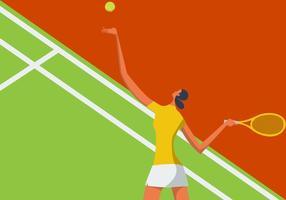 Ilustração de mulher jogando tênis vetor