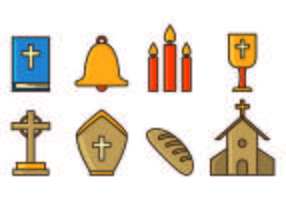 Conjunto de Ícones da Semana Santa vetor