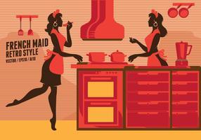 Arte gráfica retro da empregada doméstica francesa