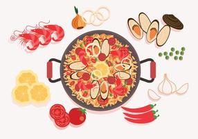Paella Ingredientes Vector