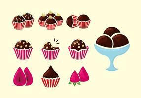 Brigadeiro marrom cookies ilustração vetorial vetor