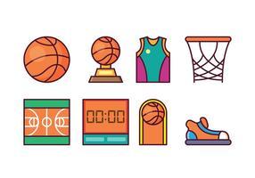 Conjunto grátis de ícones de basquete vetor
