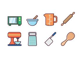 Conjunto de ícones de cozinha grátis vetor