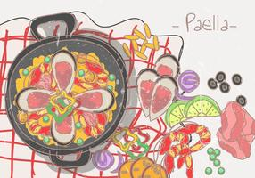 Paella Comida Espanhola vetor