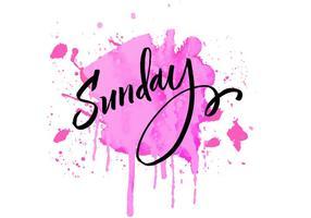 Aguarela de rotulação do domingo